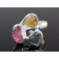 Multi-Color Tourmaline (Rough) Sterling Silver Ring - Size 6.5