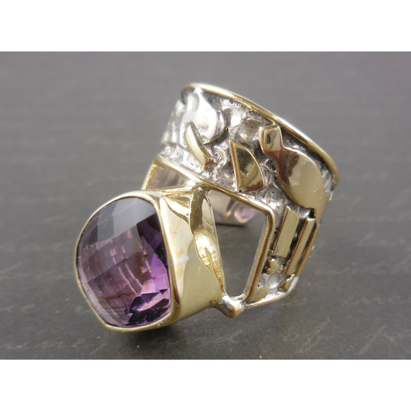 Amethyst Bi-Color Gold-Over-Sterling (Vermeil) Adjustable Ring - Size 7.75