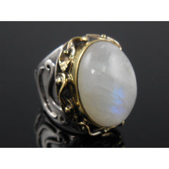 Moonstone Bi-Color (Gold-Over-Sterling) Cabochon Ring - Size 7.75