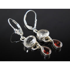Garnet & White Topaz Sterling Silver Earrings