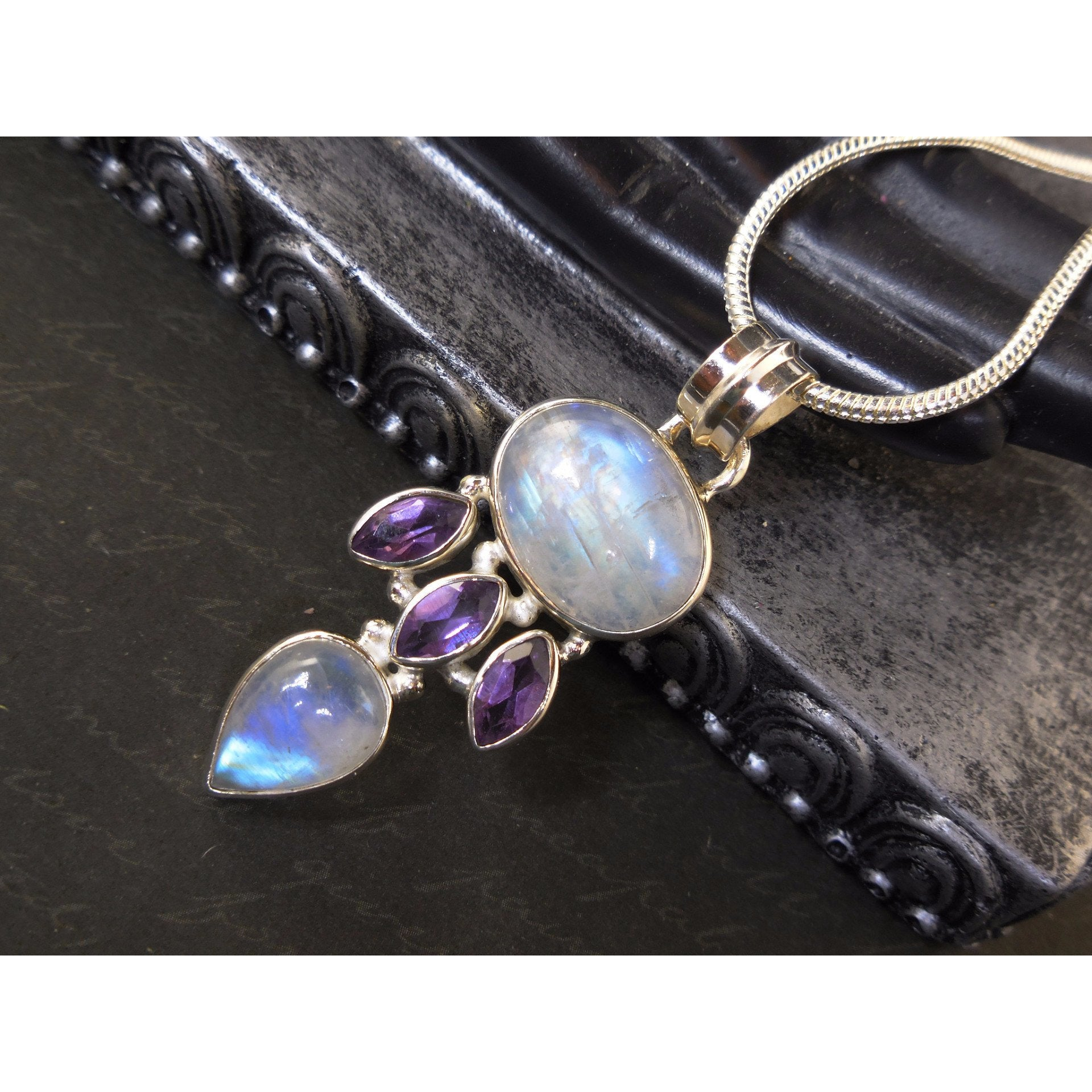 Moonstone & Amethyst Quartz Sterling Silver Pendant/Necklace