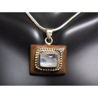 Moonstone & Wood Sterling Silver Pendant/Necklace
