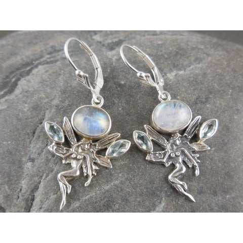 Moonstone & Blue Topaz Sterling Silver Fairy Earrings