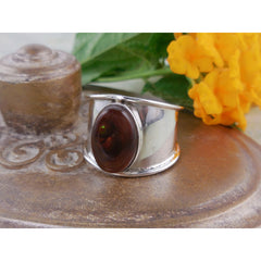 Fire Agate Sterling Silver Ring – Size 7.5