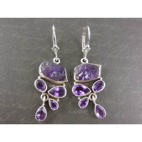 Amethyst Quartz (Rough & Faceted) Sterling Silver Earrings