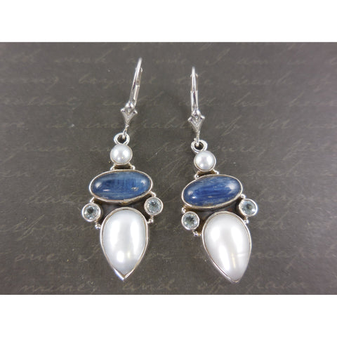 Kyanite, Freshwater Pearl, & Blue Topaz Sterling Silver Earrings