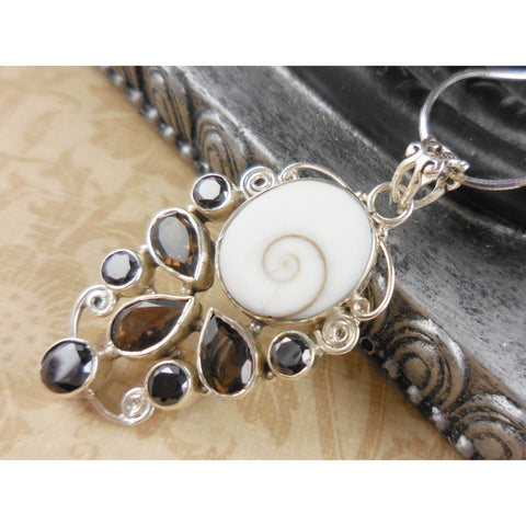 Shiva Eye, Smoky Topaz, & Onyx Sterling Silver Pendant/Necklace