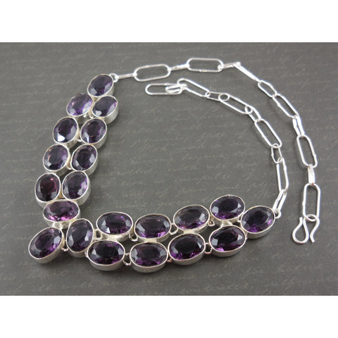 Amethyst Quartz Sterling Silver Bib Necklace