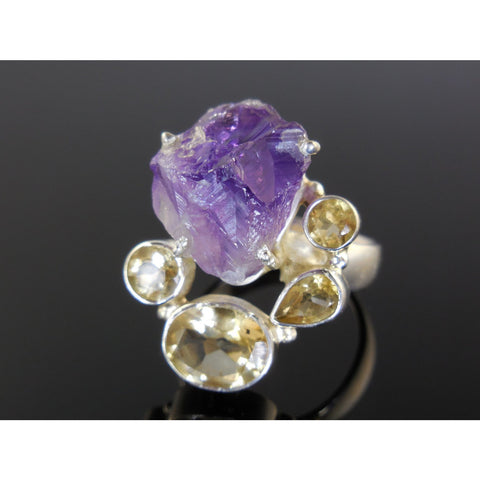 Amethyst (Rough) & Citrine Quartz Sterling Silver Ring - Size 7.25