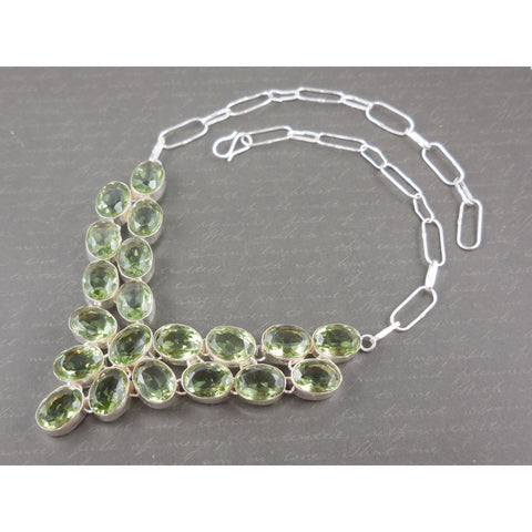 Peridot Quartz Sterling Silver Bib Necklace