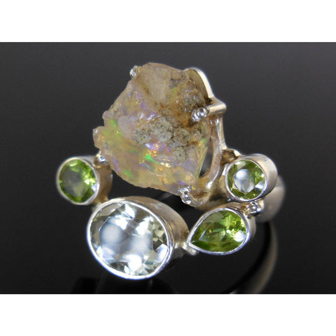 Ethiopian Opal (Rough), Green Amethyst, and Peridot Sterling Silver Ring - Size 9.25