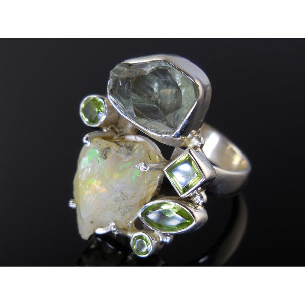 Ethiopian Opal and Green Amethyst Rough and Peridot Sterling Silver Ring - Size 8.25