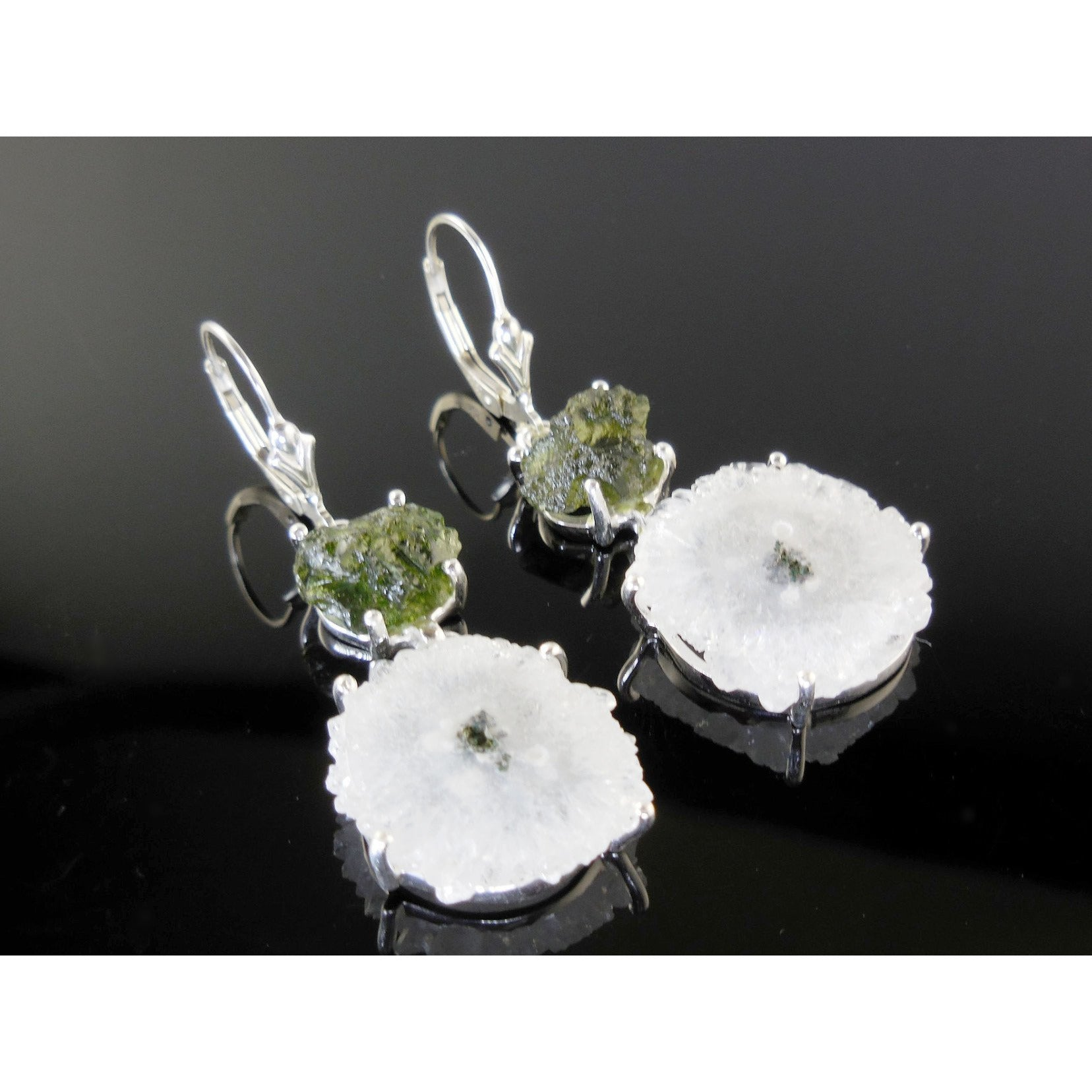 Quartz & Moldavite Sterling Silver Earrings