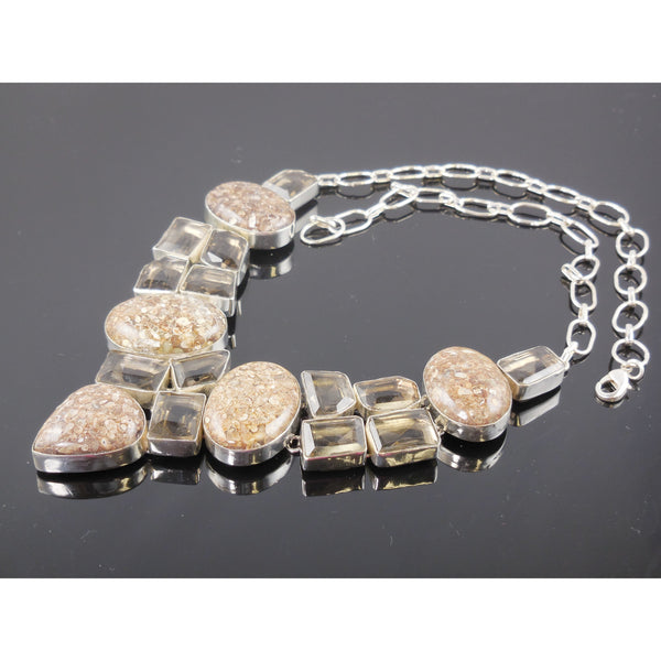 Turtella Jasper & Smoky Topaz Sterling Silver Bib Necklace