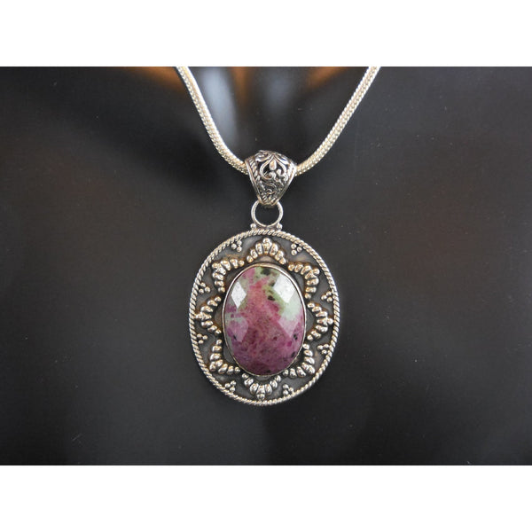 Ruby in Zoisite Sterling Silver Pendant/Necklace