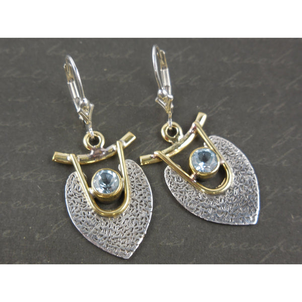 Blue Topaz Vermeil  Bi-Color Sterling Silver Earrings