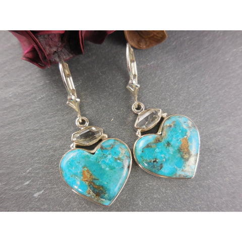 Turquoise & Herkimer Diamond (Quartz) Sterling Silver Heart Earrings