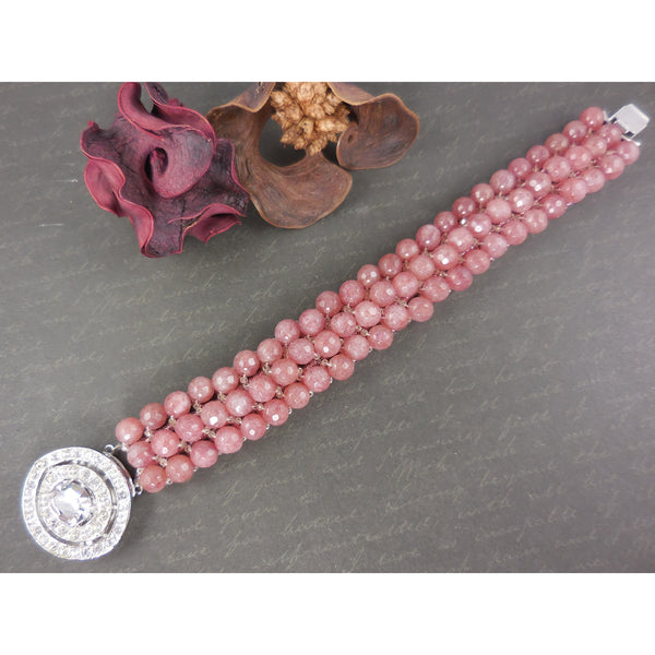 Handwoven Muscovite w/Nickle-Free Rhodium-Plated Base Metal & Crystal Box Clasp