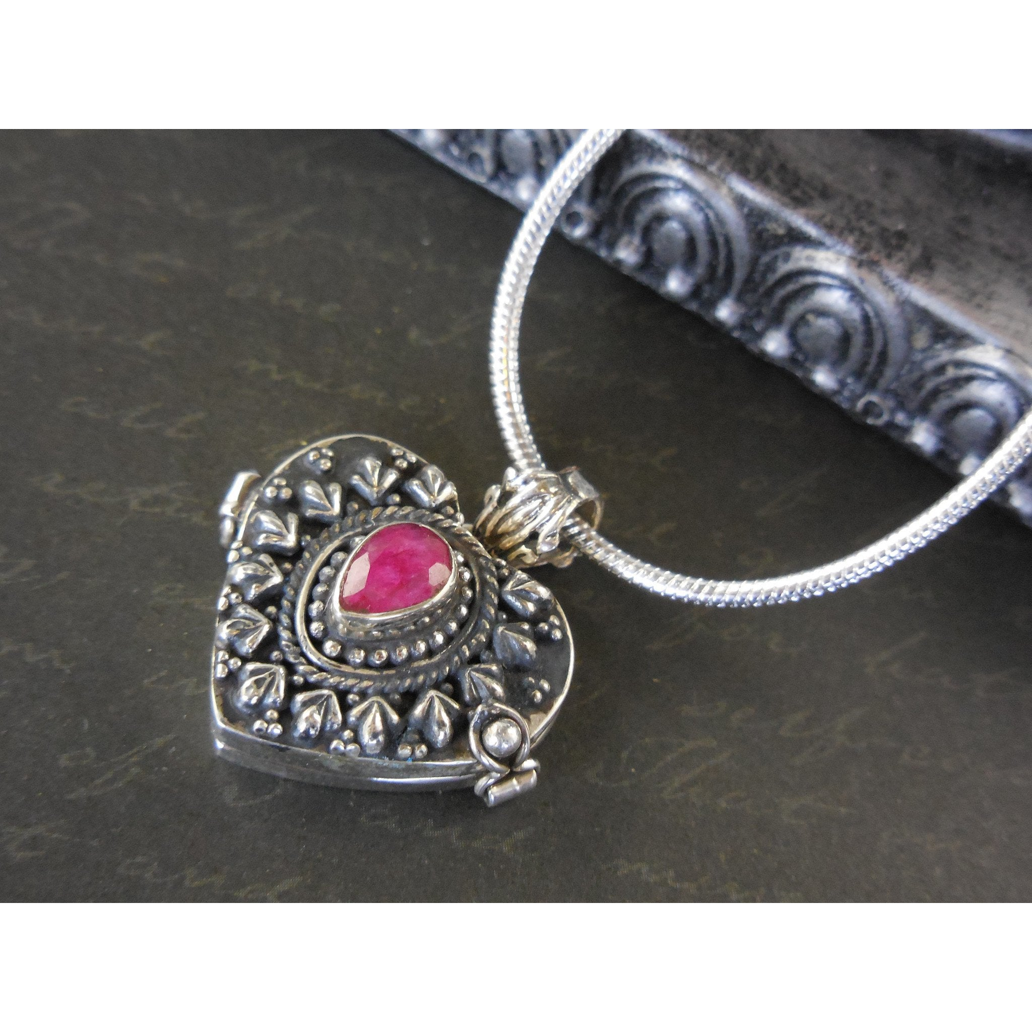 Ruby Sterling Silver Locket/Pendant