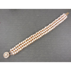 Handwoven Golden Freshwater Pearl w/Gold-Filled Box Clasp Bracelet