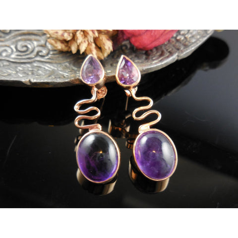 Amethyst Quartz Rose Gold-Over-Sterling Silver Post Earrings