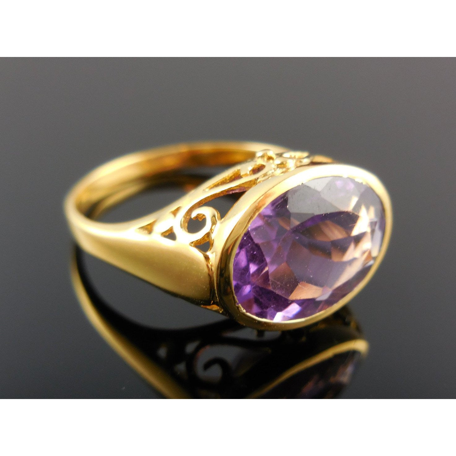 Amethyst Gemstone 18kt Gold-Over-Sterling Silver (Vermeil) Ring - Size 9.25