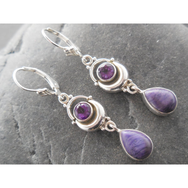 Charoite & Amethyst .925 Sterling Silver Earrings