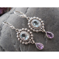 Blue Topaz & Amethyst .925 Sterling Silver Earrings