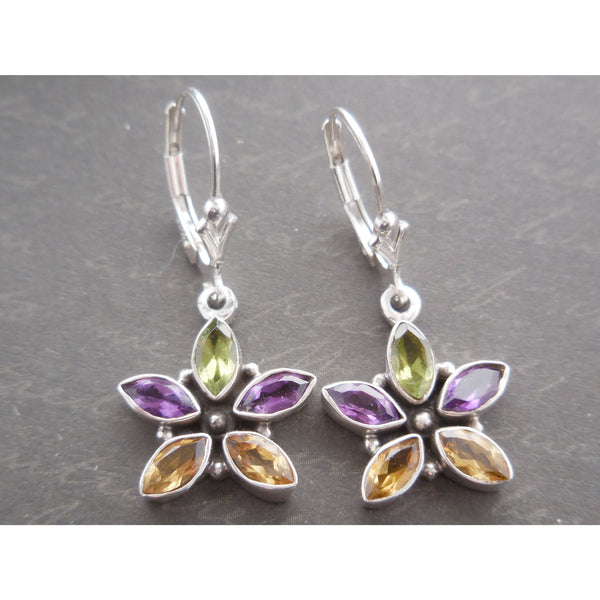 Amethyst, Peridot & Citrine Quartz .925 Sterling Silver Earrings