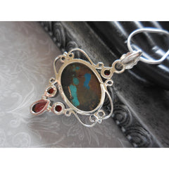 Turquoise, Copper, & Garnet  .925 Sterling Silver Pendant/Necklace