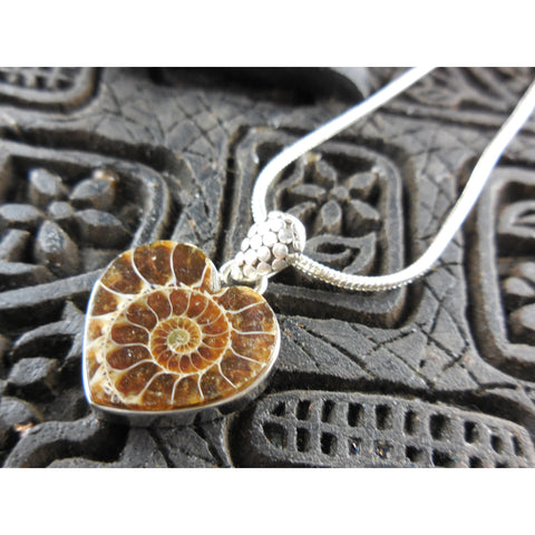 Ammonite Fossil Heart Sterling Silver Pendant/Necklace