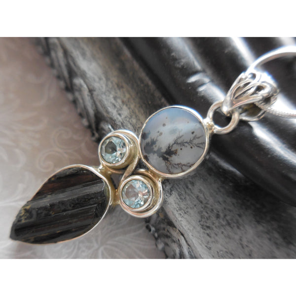 Dendritic Agate & Blue Topaz & Tourmaline .925 Sterling Silver Pendant/Necklace