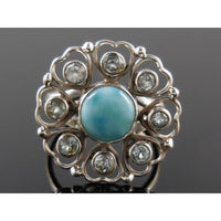 Larimar & Blue Topaz Gemstones Sterling Silver Ring - Size 8