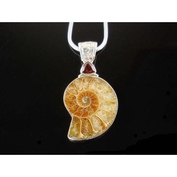 Ammonite & Garnet Sterling Silver Pendant/Necklace