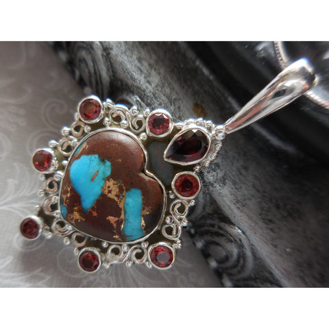 Turquoise & Garnet .925 Sterling Silver Heart Pendant/Necklace