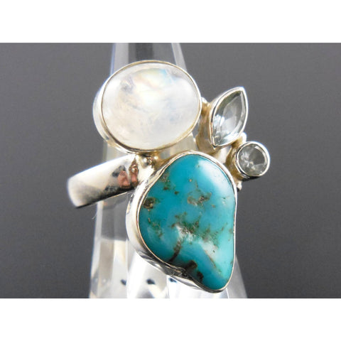 Turquoise, Moonstone, and Blue Topaz Sterling Silver Ring - Size 9.5