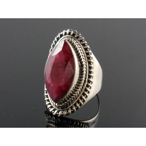 Marquis Ruby Corundum Sterling Silver Ring - Size 6