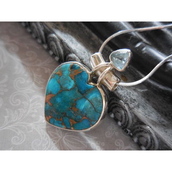 Turquoise & Blue Topaz .925 Sterling Silver Heart Pendant/Necklace
