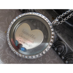 A Mother's Love Floating Stainless Steel w/Crystal Accents Magnetic Locket