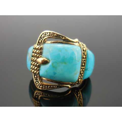 Turquoise Buckle Bronze Ring - Sizes Available:  6, 8, 9, 10