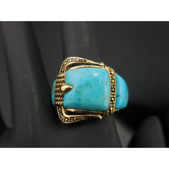 Turquoise Buckle Bronze Ring - Size 10