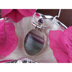 Flourite & Amethyst Sterling Silver Pendant/Necklace