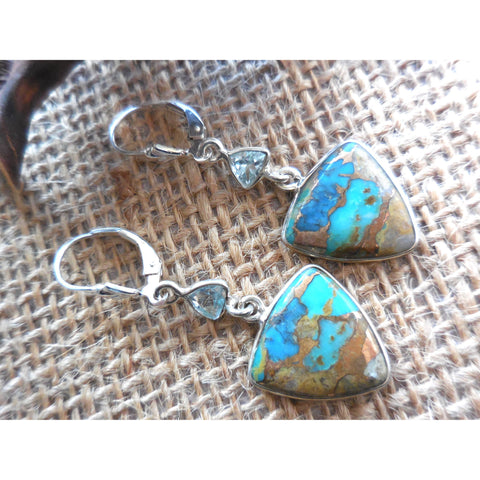 Turquoise & Blue Topaz .925 Sterling Silver Earrings