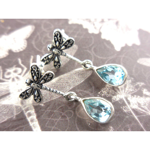 Blue Topaz Dragonfly .925 Sterling Silver Post Earrings