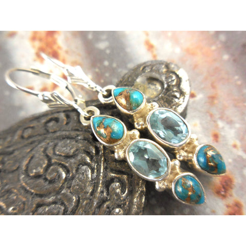 Turquoise, Copper, & Blue Topaz .925 Sterling Silver Earrings