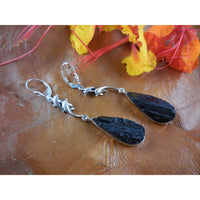 Black Tourmaline Rough Sterling Silver Earrings