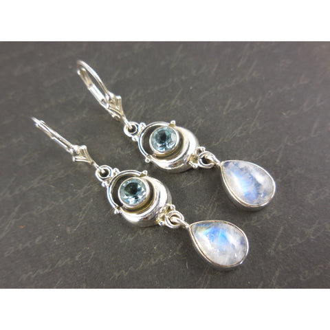 Moonstone & Blue Topaz .925 Sterling Silver Earrings