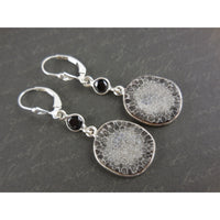 Black Coral & Onyx .925 Sterling Silver Earrings