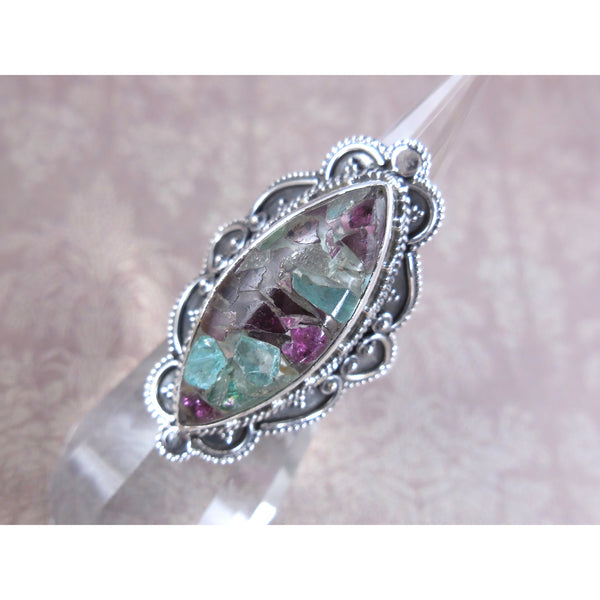 Aquamarine in Garnet .925 Sterling Silver Ring - Size 8