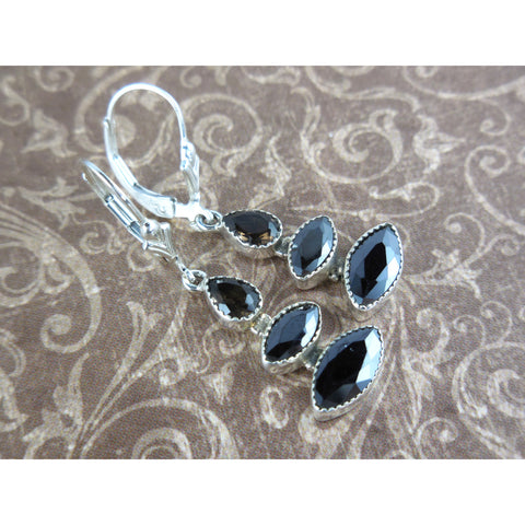 Smoky Topaz & Onyx Dainty .925 Sterling Silver Earrings